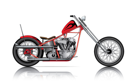 exhaust pipe: red custom chopper on white background Illustration