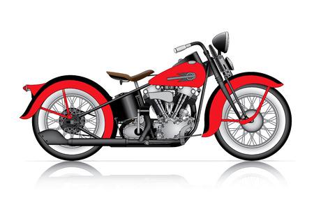 赤の古典的なオートバイ
