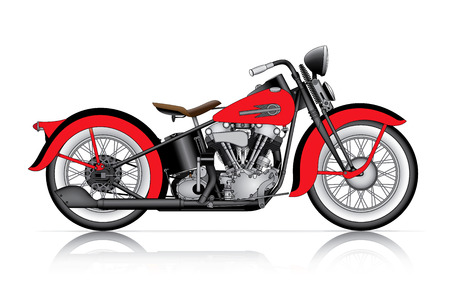 two car garage: red classic motorcycle