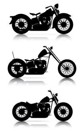 オートバイのシルエットのセット  イラスト・ベクター素材