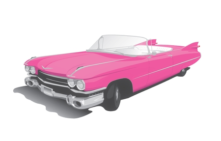 old cars: pink convertible on white back ground
