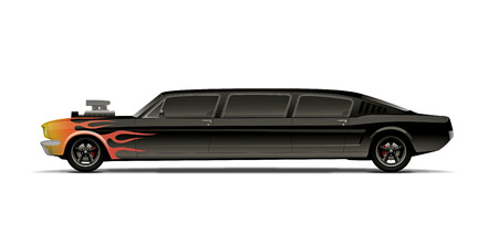 supercharged muscle car limo with flames Illustration
