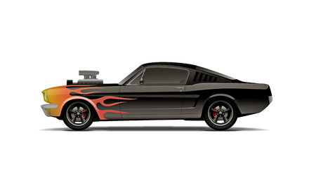 castomized muscle car with supercharger and flames