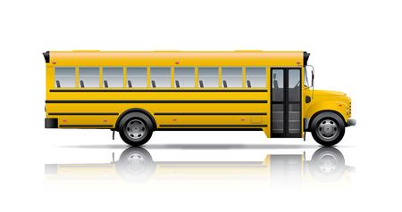schoolchild: schoolbus Stock Illustratie