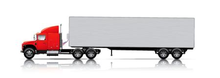 semi truck: rojo semi-cami�n