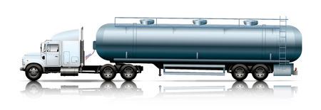 tanker: white semi-truck with tanker