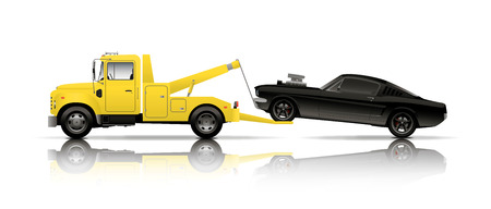 truck road: tow truck towing black muscle car