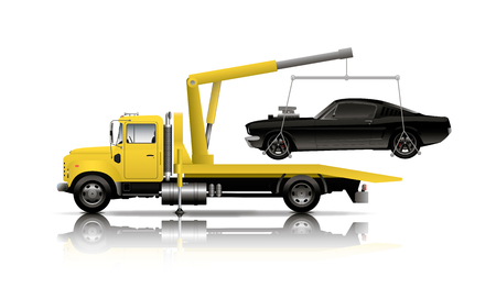 GEEL TOW TRUCK Stock Illustratie