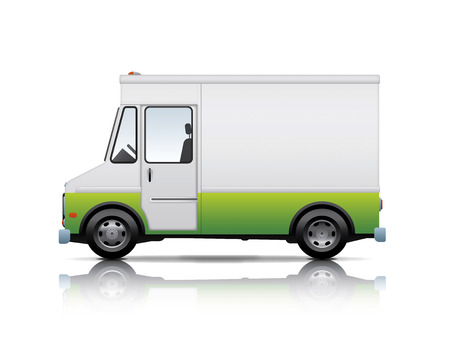 relocate: white and green van