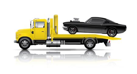 黄色の車を牽引する黒い筋肉車