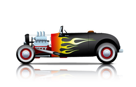black vintage hot-rod with flames