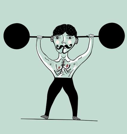 hombre fuerte: Imagen de un atleta que participa en el levantamiento de pesas