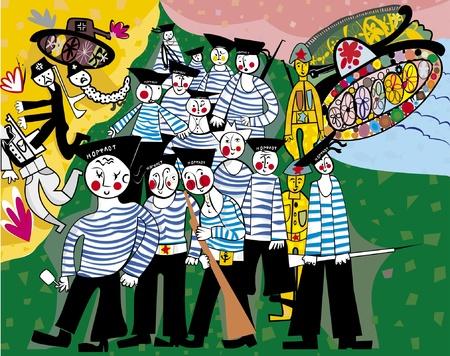luxacion: La imagen de la guerra En la parte central de la imagen es un pelot�n de marineros