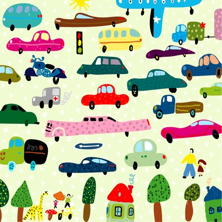 The image of a large number of vehicles