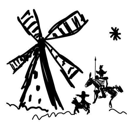 don quichotte: Repr�sentation sch�matique de Don Quichotte et son �cuyer