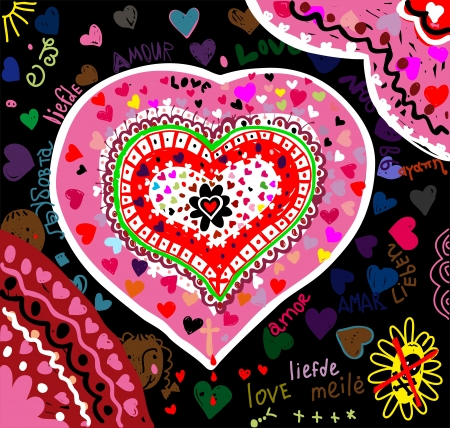 The picture shows a heart painted in different colors