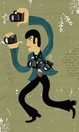 Picture of a photographer who is busy shooting process Illustration