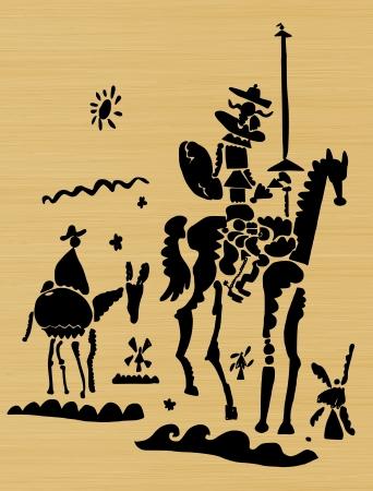 Representación esquemática de Don Quijote y su escudero Foto de archivo - 19023243