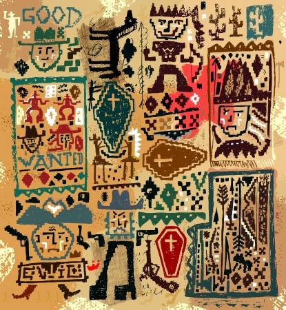 Las imágenes de los personajes que pertenecen a la época del salvaje oeste Ilustración de vector