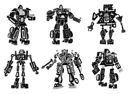 The symbolic image of robots Ilustracja