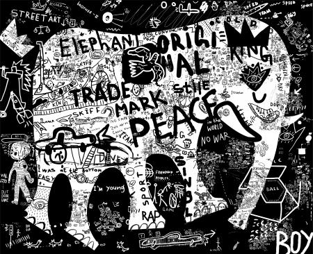 Silhouette di un elefante, che comprende una pluralità di simboli Archivio Fotografico - 20745388