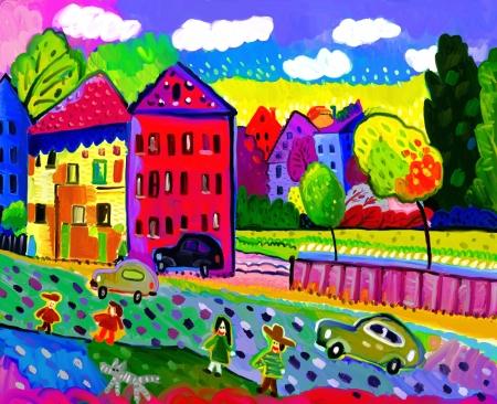 Stedelijk landschap in de herfstseizoen