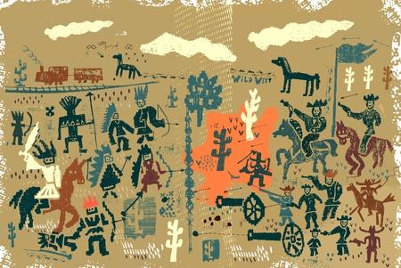 Las imágenes de los personajes que pertenecen a la época del salvaje oeste.