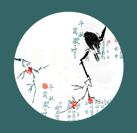 Image crow that sits on a branch of rowan  Illustration