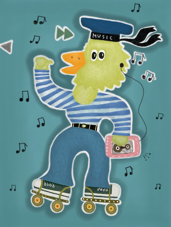 edith: Duckling with a player on the rollers, listening to music