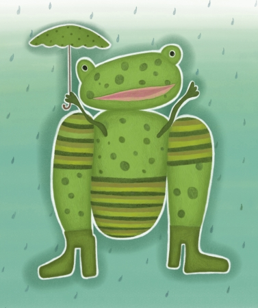 Picture of a frog with an umbrella