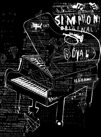 musical theater: Symbolic image of the piano on a black background