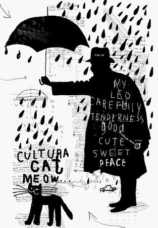 uomo sotto la pioggia: Immagine simbolica di un uomo con un ombrello