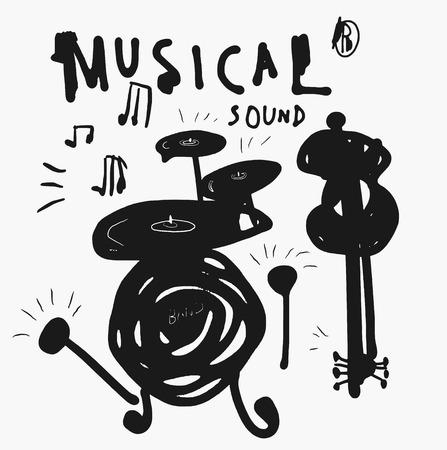 Symbolic image drums and guitars  Illustration