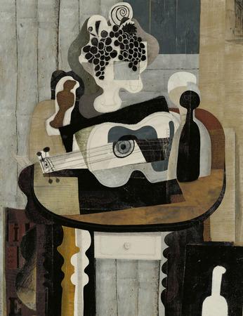 cubismo: Imagen simb�lica de la naturaleza muerta con una guitarra en el estilo del cubismo