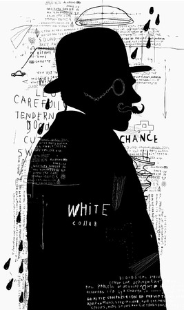 A man in a hat and pince-nez that stands alone  Illustration