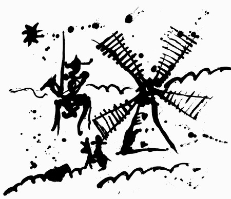 Representación esquemática de Don Quijote y su escudero Foto de archivo - 27713745