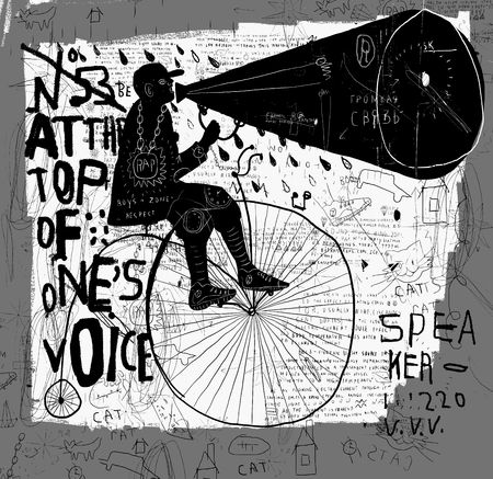 shouting: Image of a man who rides a bike and says over the loudspeaker