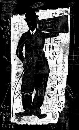 Image of a man with a tape recorder on a white  Illusztráció