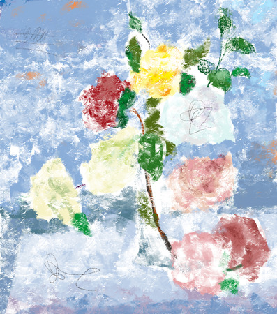 Image of bouquet of roses in the impressionist style  photo