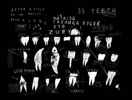 Symbolic image of teeth on black background