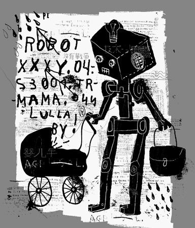 Symbolic image of a robot with a pram