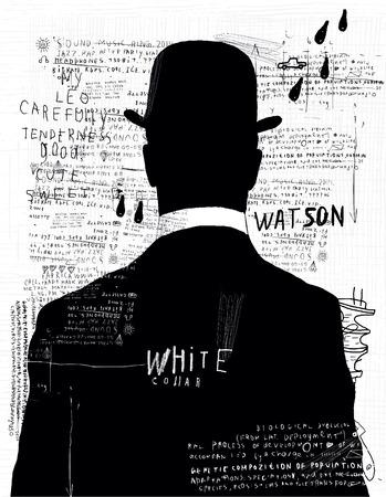 graffiti: Un hombre en un sombrero que dio la espalda a nosotros