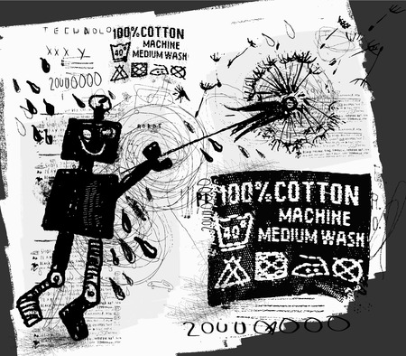 Symbolic image of the robot with dandelion