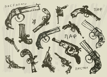 quantities: Symbolic image of pistols in high quantities