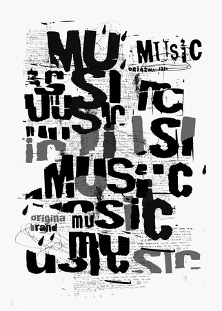 Symbolic image of the word music, which is written in black and white Ilustrace
