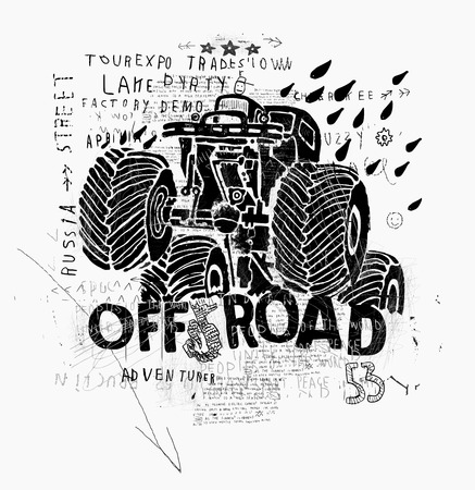 off road vehicle: The symbolic image of an SUV with big wheels