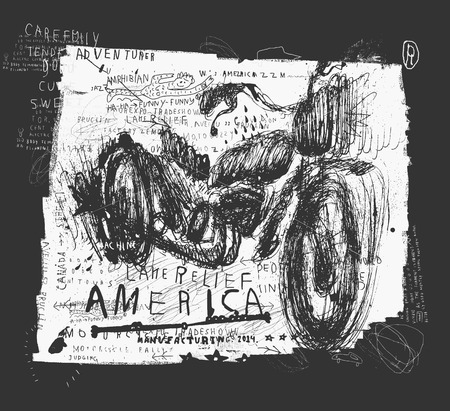 a two wheeled vehicle: Symbolic image of an old racing bike Illustration