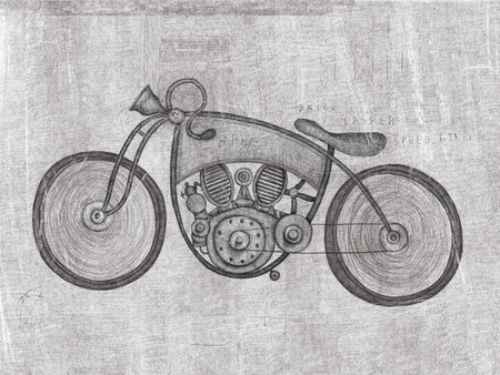 a two wheeled vehicle: Symbolic image of an old racing bike Stock Photo