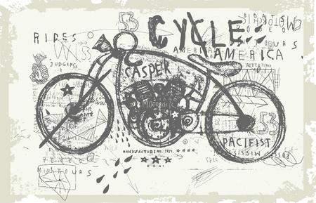 Symbolic image of an old racing bike Illustration