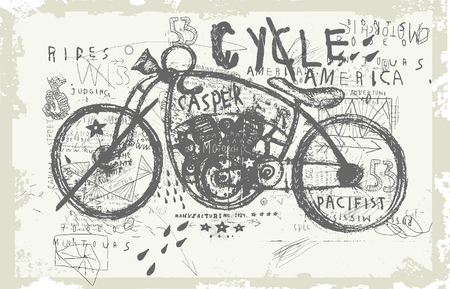 motocross riders: Symbolic image of an old racing bike Illustration